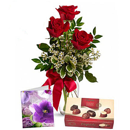Three Red Roses With Chocolates: Send Flowers to Australia