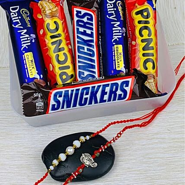 Two Rakhi With Six Mix Chocolates: Send Rakhi to Australia from India