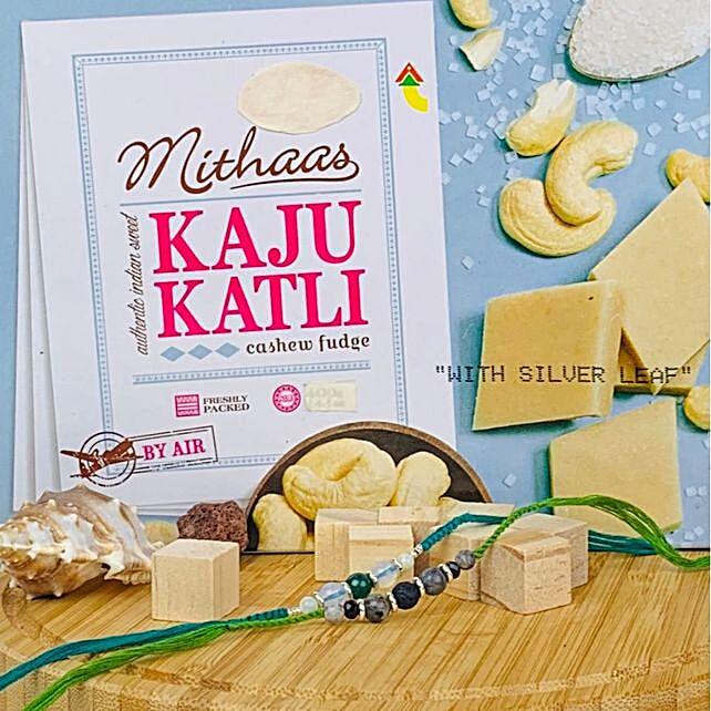 Stone Work Rakhi Set with Kaju Katli: Send Rakhi to Australia