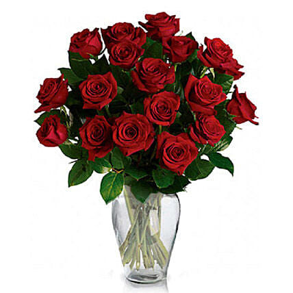 24 Red Roses in Vase: Flower Delivery in Canada