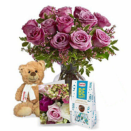 Lavender Roses with Teddy N Chocolate: Chocolate Gift Baskets in Canada