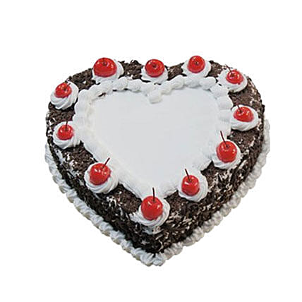 Heartshape Black Forest Cake 500GM: Send Cakes to Canada