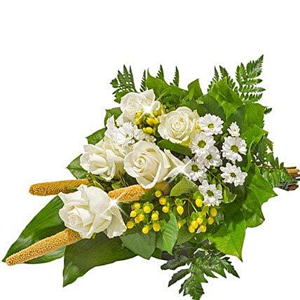 Sympathy Bouquet in White: Funeral Flowers to Germany