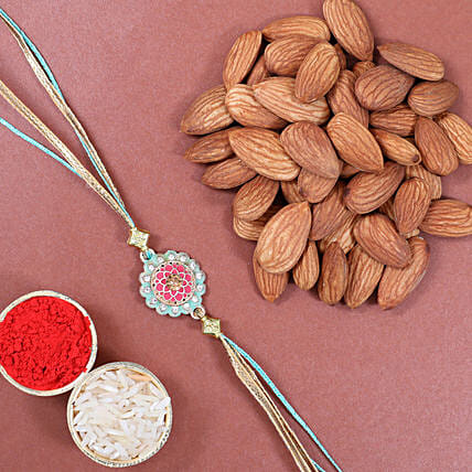 Traditional Design Rakhi And Almonds: Rakhi to Germany from India