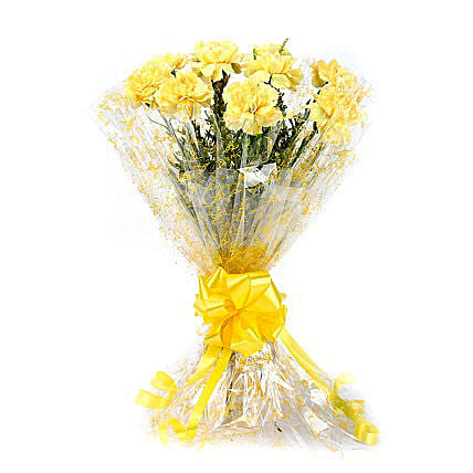 10 Lively Yellow Carnations Bouquet: Yellow Flowers