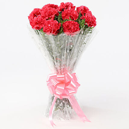 10 Passionate Pink Carnations Bouquet: Send Carnations