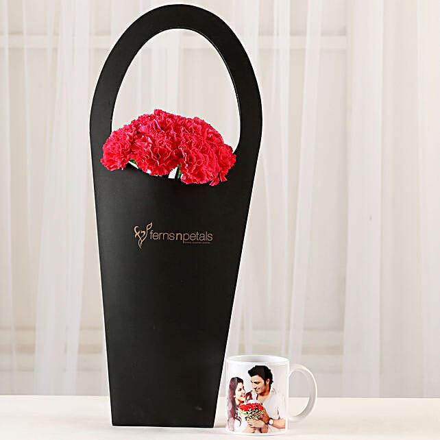 10 Pink Carnations & Personalised Mug Combo: Custom Photo Coffee Mugs
