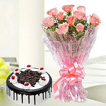 10 Pink Roses And Black Forest Cake: Rose Combos