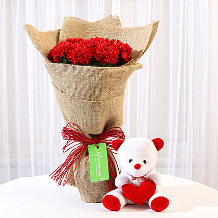 10 Red Carnations Bouquet & Teddy Bear Combo: Valentine Flowers & Teddy Bears