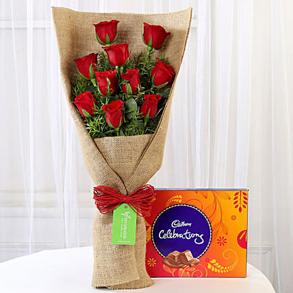 10 Red Roses & Cadbury Celebrations: Flowers with Chocolates