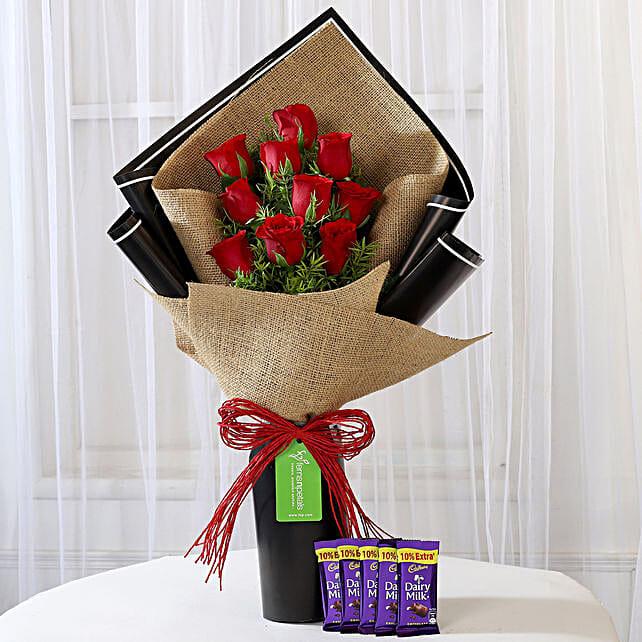 10 Red Roses & Cadbury Dairy Milk Combo: Cadbury Chocolates