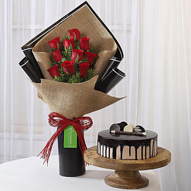 10 Red Roses & Choco Cream Cake Combo: Buy Flowers Combo