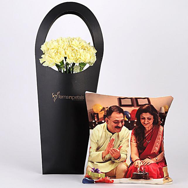 10 Yellow Carnations & Personalised Cushion Combo: