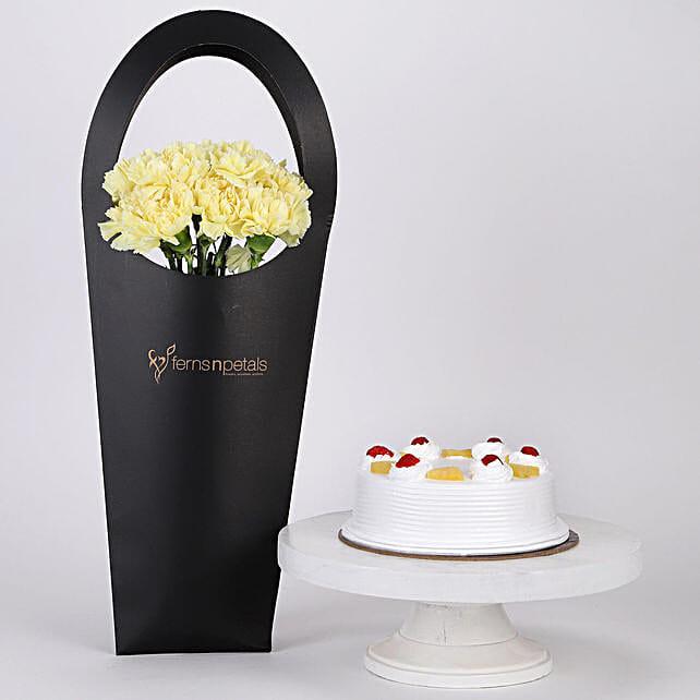 10 Yellow Carnations & Pineapple Cake Combo: Flowers & Cake Combos