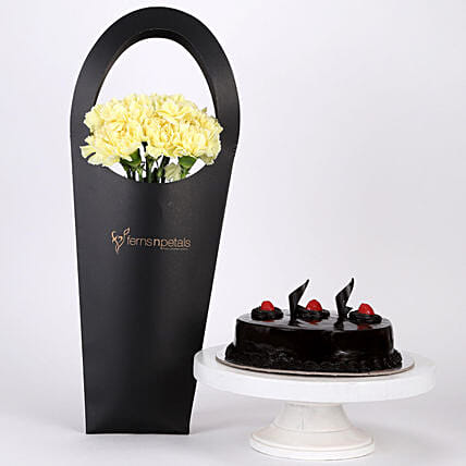 10 Yellow Carnations & Truffle Cake Combo: Send Flowers In Sleeve