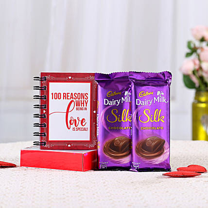 100 Reasons Love Book & Dairy Milk Silk Combo: