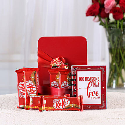 100 Reasons Love Book & Kit Kat Combo: Chocolates for Valentines Day