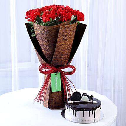 12 Beautiful Red Carnations & Chocolate Cake: Flower Bouquet with Cake
