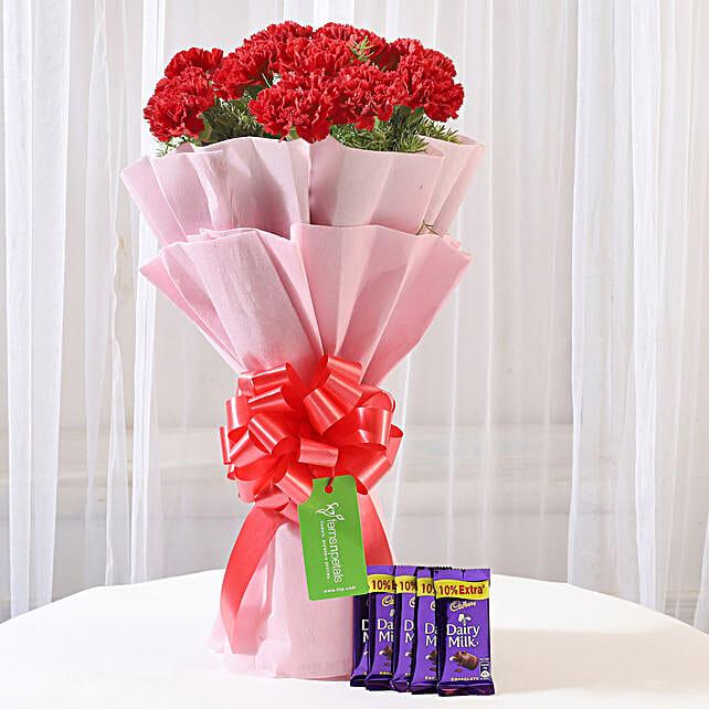 12 Beautiful Red Carnations & Dairy Milk Chocolate: Buy Flowers Combo
