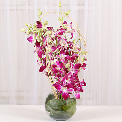 Purple Orchids Vase Arrangement: Fresh Flower Arrangement
