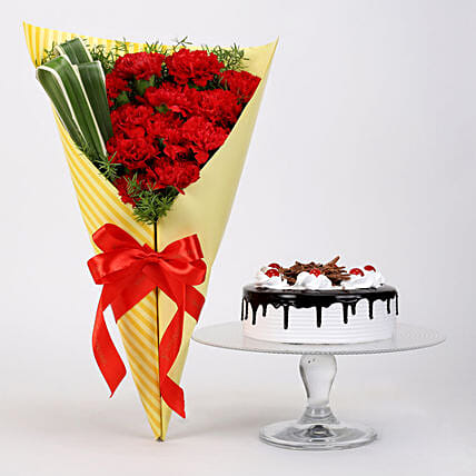 12 Red Carnations & Black Forest Cake: Cake Combos