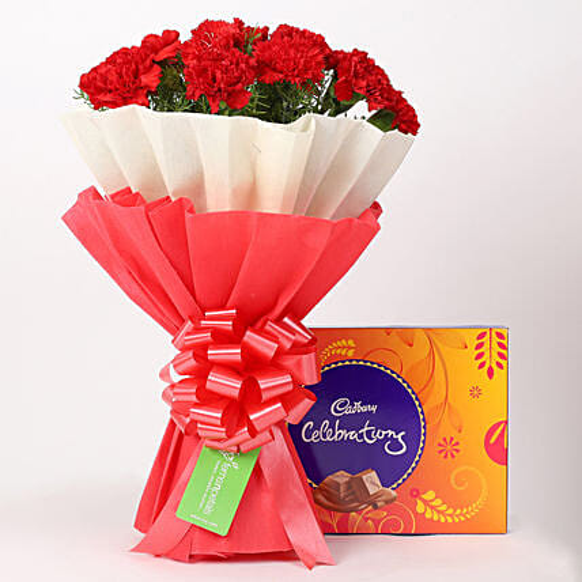 12 Red Carnations Bouquet & Cadbury Celebrations Box: