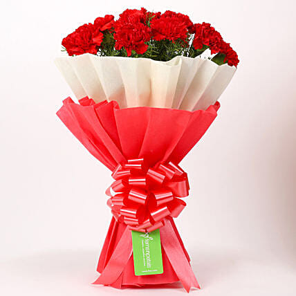 12 Red Carnations Bouquet in Red & White Paper: Carnations