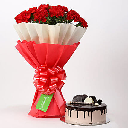 12 Red Carnations & Chocolate Cake Combo: Send Carnations