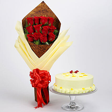 12 Red Roses Bouquet & Butterscotch Cake: Buy Flowers Combo
