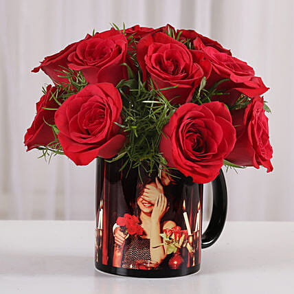 15 Red Roses Picture Mug: