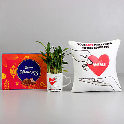 2 Layer Bamboo Plant with Cushion & Cadbury Celebrations: