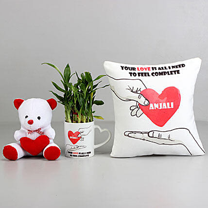 2 Layer Bamboo Plant with Love Cushion & Teddy: Personalised Pot plants