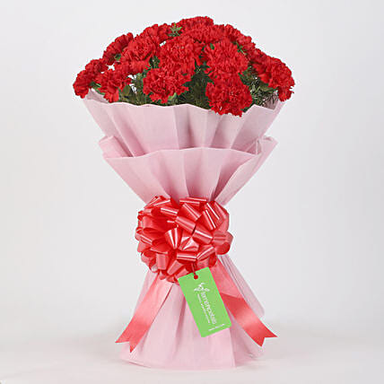 20 Red Carnations Bouquet in Pink Paper: