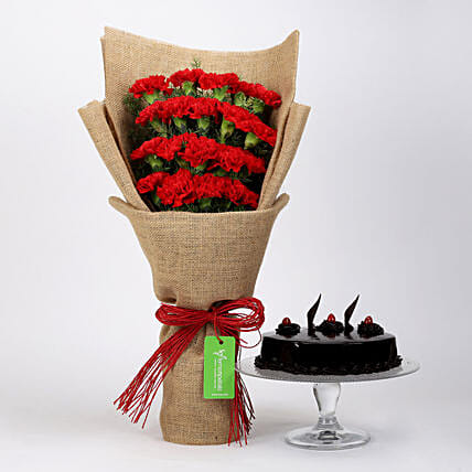 20 Red Carnations & Truffle Cake: Cakes Combo
