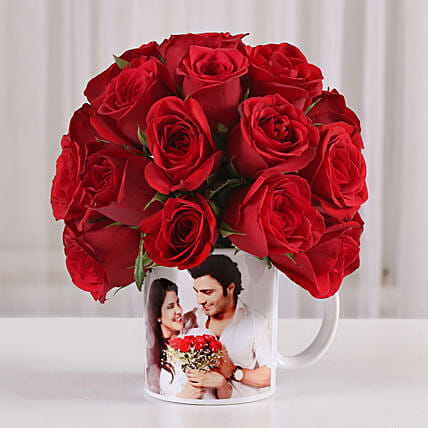 20 Red Roses in White Personalised Mug: Anniversary Flowers
