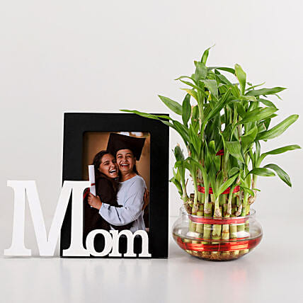 3 Layer Bamboo & Mom Photo Frame Combo: Plants N Personalised Gifts