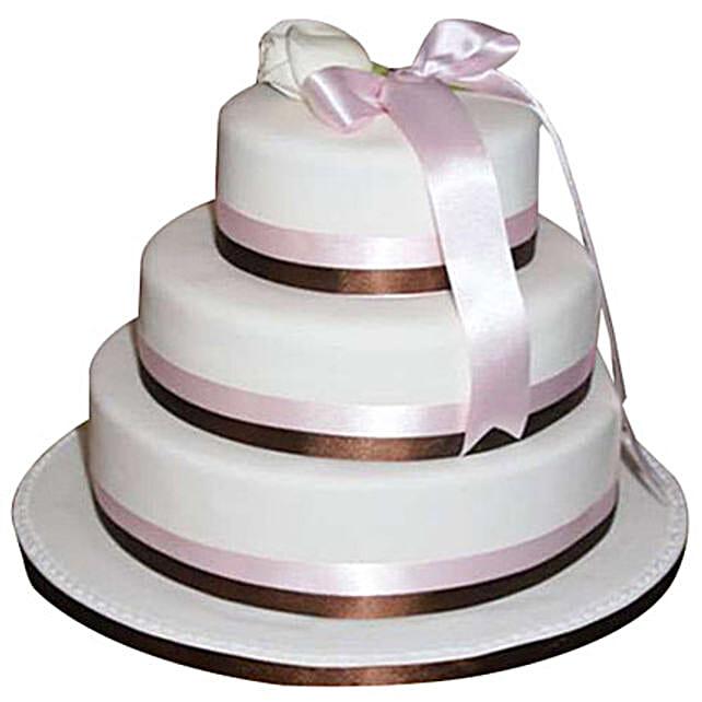3 Tier White Fondant Cake: Multi Tier Cakes