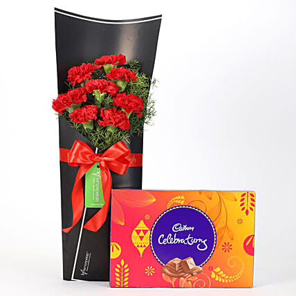 8 Red Carnations Bouquet & Celebrations Box: Cadbury Chocolates