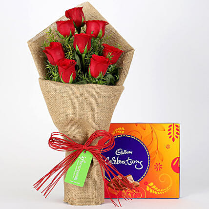 8 Red Roses Bouquet & Cadbury Celebrations: