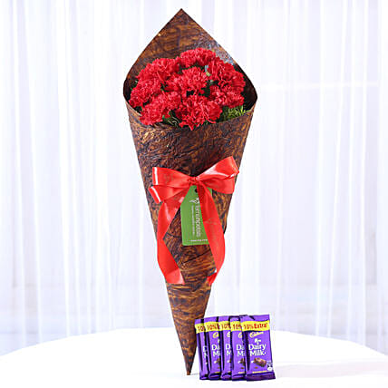 8 Vibrant Red Carnations & Dairy Milk Combo: Combo Gifts