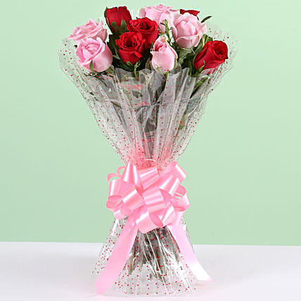 Appealing 10 Red & Pink Roses Bunch: Send Roses