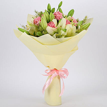 Asiatic Lilies & Carnations Mixed Bouquet: