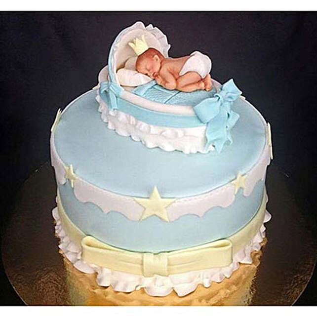 Baby In The Crib Fondant Cake: Designer Cakes