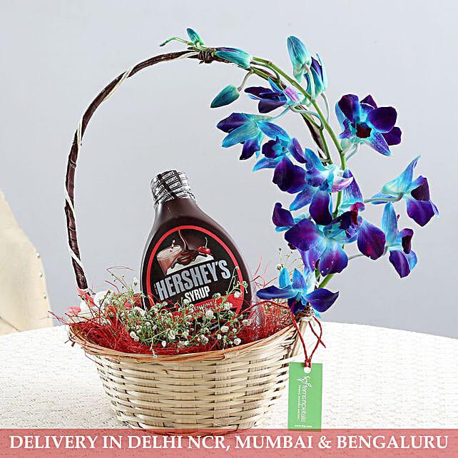Basket Of Flowers & Chocolate Syrup: Bhai Dooj Gift Hampers