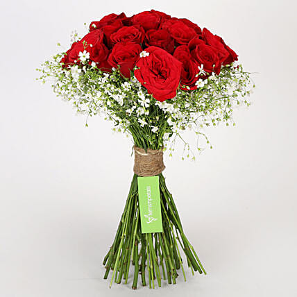 Beautiful 25 Hand Tied Red Roses: Gifts to India