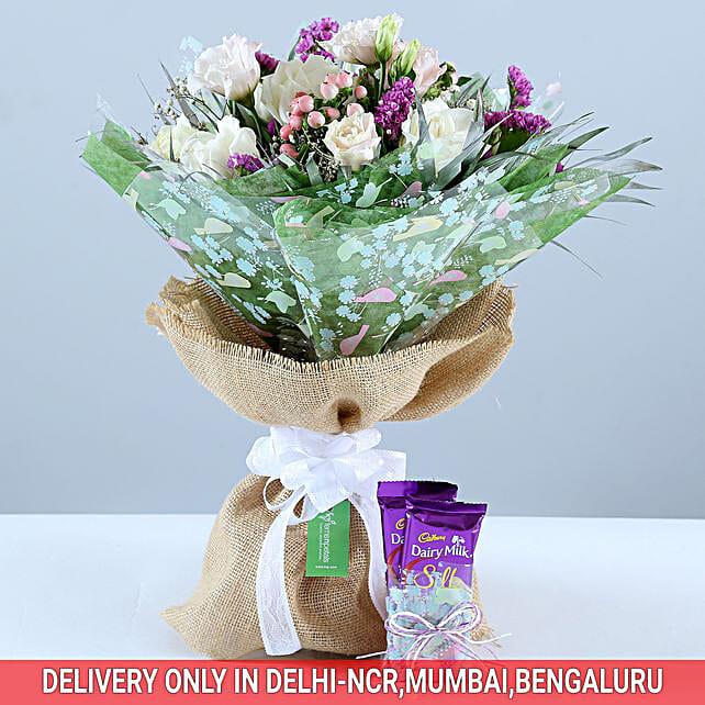 Beautiful Bouquet & Dairy Milk Combo: Exotic Flowers