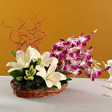 Lilies And Orchids Basket Arrangement: Flower Basket