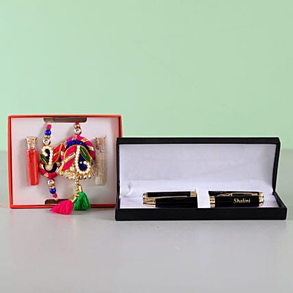 Bhaiya Bhabhi Zardosi Rakhi Set With Pen Combo: Rakhi With Personalised Gifts