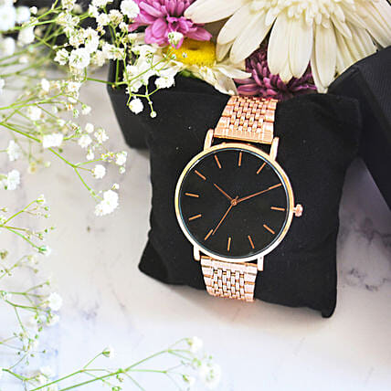 Black Dial Rose Gold Watch: Watches