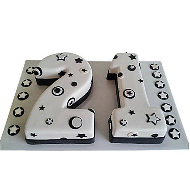 Black N White Fondant Cake: Alphabet N Number Cakes